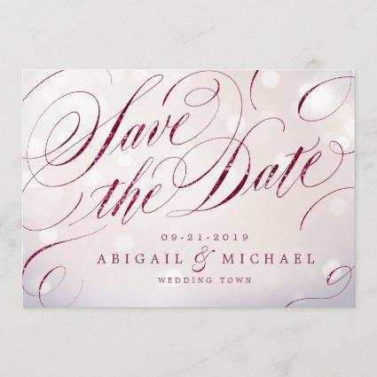 Glam burgundy vintage calligraphy save the date