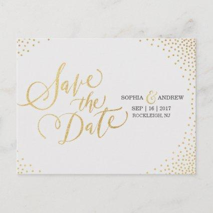 Glam faux gold glitter calligraphy save the date Announcements Cards