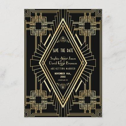 Glam Gold and Black Great Gatsby Save the Date