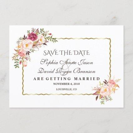 Glam Gold Blush Pink Floral Save The Date