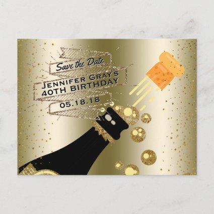 Glam Gold Champagne Save the Date Elegant Birthday Announcements Cards