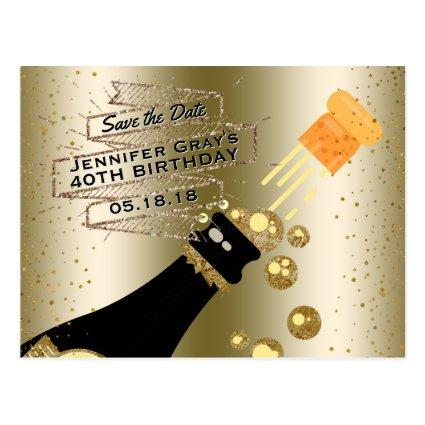 Glam Gold Champagne  Elegant Birthday Cards