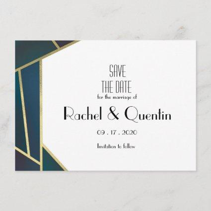 Glam Gold Geometric Art Deco Wedding Save The Date