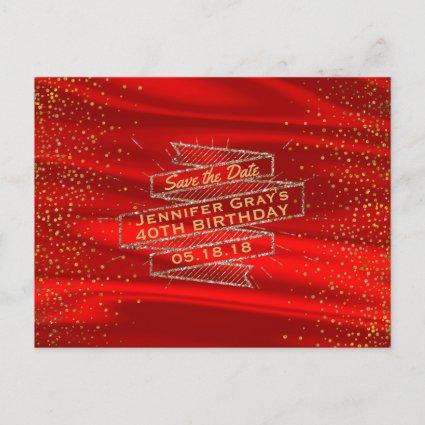 glam gold red elegant birthday party announcements cards