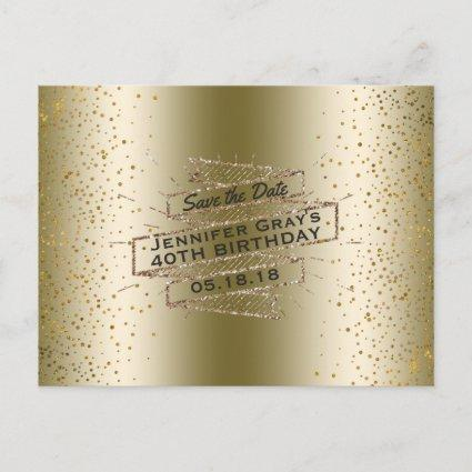Glam Gold Save the Date Elegant Birthday Party Announcement