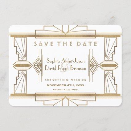 Glam White 1920's Great Gatsby Save The Date