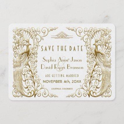 Glam White Gold Art Deco Peacocks Save The Date