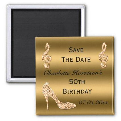 Glamorous 50th Save The Date Gold Stiletto Magnet