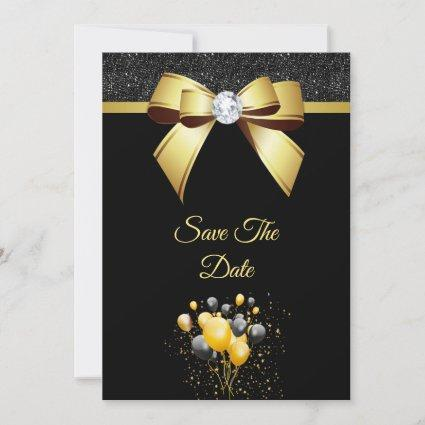 Glamorous Elegance Birthday Party Save The Date
