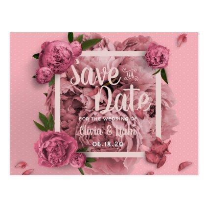 Glamorous Floral Peonies Design Save The Date Cards