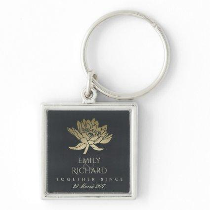 GLAMOROUS GOLD BLUE BLACK LOTUS SAVE THE DATE GIFT KEYCHAIN