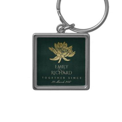 GLAMOROUS GOLD DARK GREEN LOTUS SAVE THE DATE GIFT KEYCHAIN