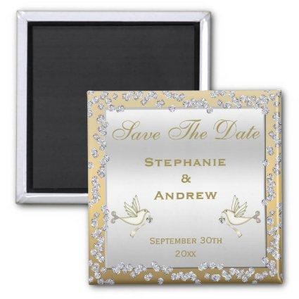 Glamorous Gold & Silver Diamonds & Doves Wedding Magnets