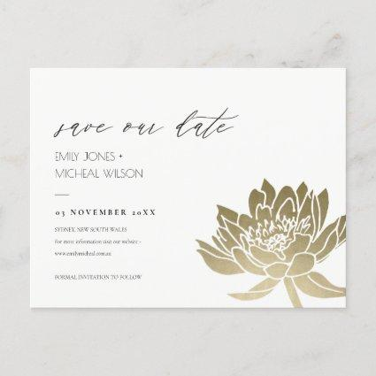 GLAMOROUS GOLD WHITE LOTUS FLORAL SAVE THE DATE ANNOUNCEMENT