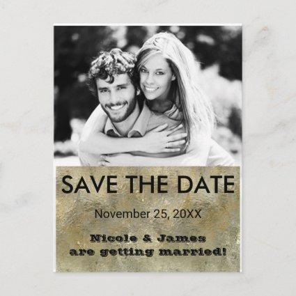 Glamour Chic Gold Faux Foil Save The Date Photo Announcement