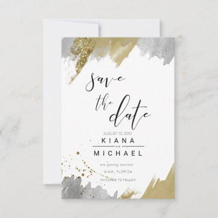 Glitter & Paint Strokes Wedding Gold ID626 Save The Date