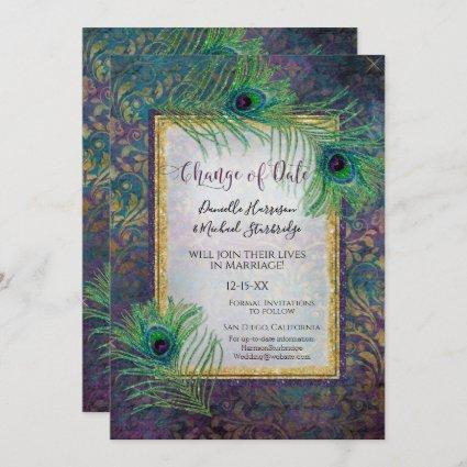Glitter Peacock Feather Purple Photo Date Change Save The Date