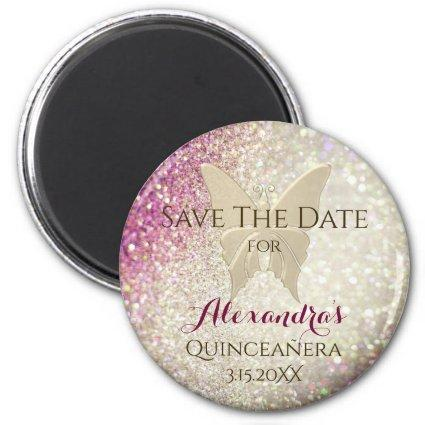 Glitter Pink and Gold Quinceanera Save The Date Magnet