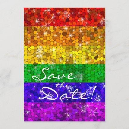 Glitter Rainbow Flag Marriage Equality Gay Pride Save The Date