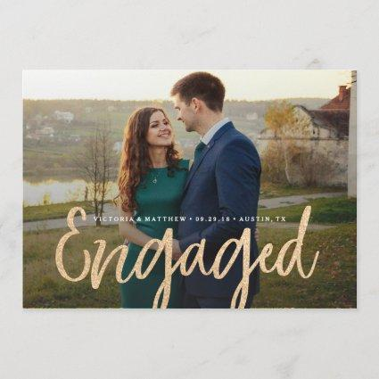 Glittering Gold Engagement Photo Announcement