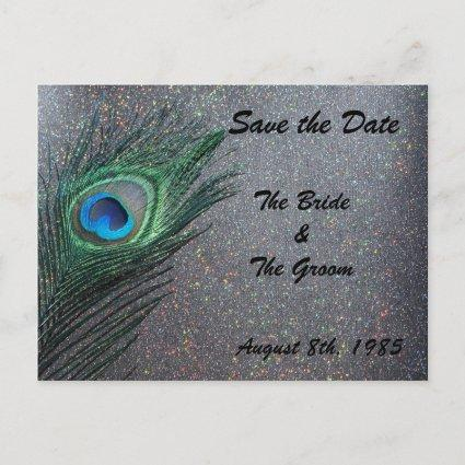 Glittery Black Peacock Save the Date Announcement