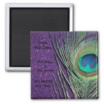 Glittery Purple Peacock Wedding Magnets