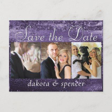 Glitzy Purple Glitter | Foil 3 Photo Wedding Date Announcement