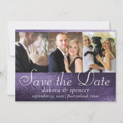 Glitzy Purple Glitter | Sparkly Glam Foil 3 Photo Save The Date
