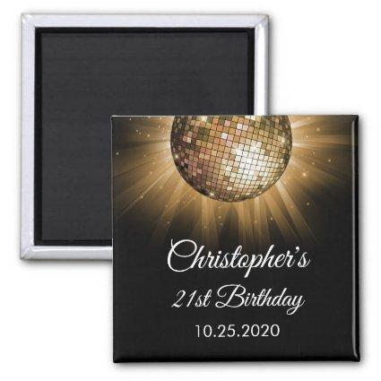 Gold 21st Birthday Party Gold Disco Ball Magnet
