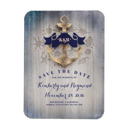 Gold Anchor Navy Nautical Beach Save the Date Magnet