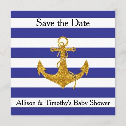 Gold Anchor on Blue Stripes Save the Date