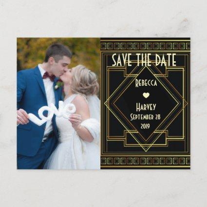 gold and black great gatsby wedding save the date announcement
