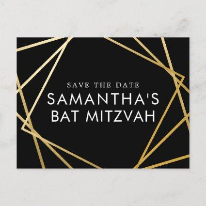 Gold and Black Modern Bat Mitzvah Save the Date Announcement