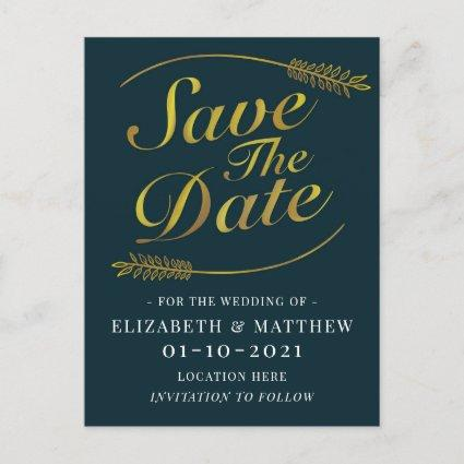 Gold and Deep Teal Wedding Save The Date Announcement