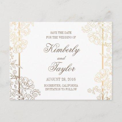 Gold and White Floral Vintage Decor Save the Date Announcement