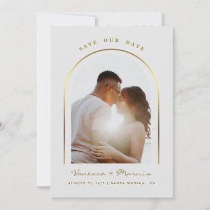 Gold Arched Frame Wedding Photo Save The Date