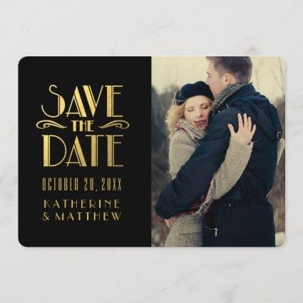Gold Art Deco | Photo Save the Date Card