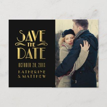 Gold Art Deco | Photo Save the Date Cards