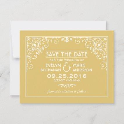 Gold Art Deco Style Wedding Save The Date