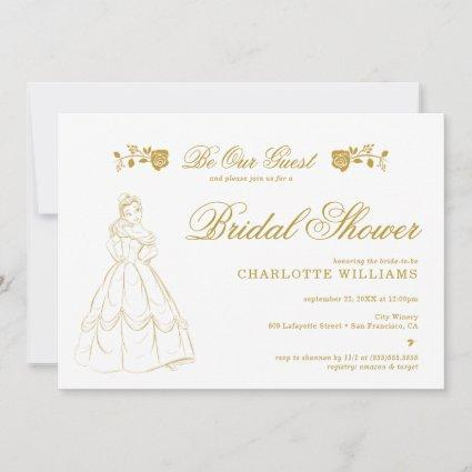 Gold Beauty and the Beast Bridal Shower Invitation
