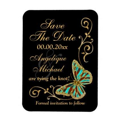 Gold black butterfly wedding party magnet