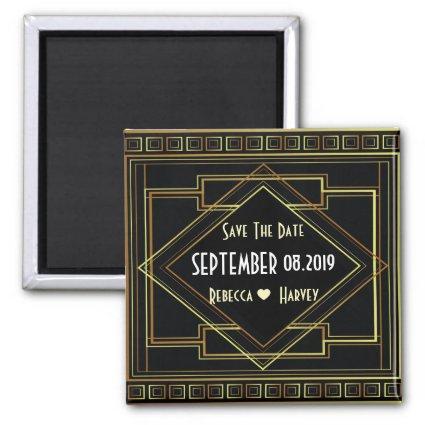 gold black great gatsby wedding save the date magnet