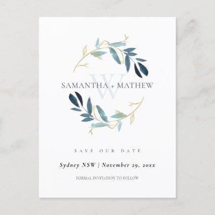GOLD BLUE FOLIAGE WATERCOLOR WREATH SAVE THE DATE ANNOUNCEMENT