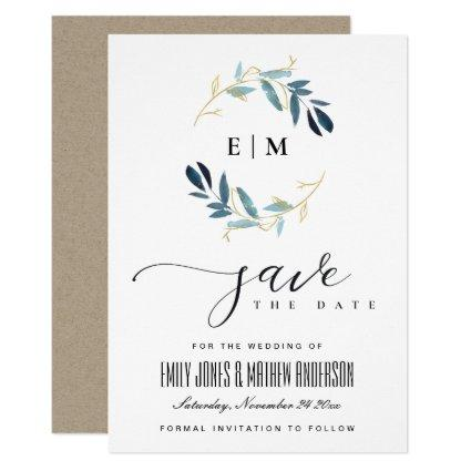 GOLD BLUE FOLIAGE WATERCOLOR WREATH SAVE THE DATE INVITATION