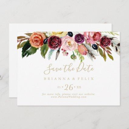 Gold Boho Floral Horizontal Wedding Save The Date