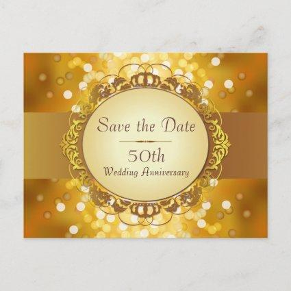 Gold Bokeh Save the Date 50th Anniversary Announcements Cards