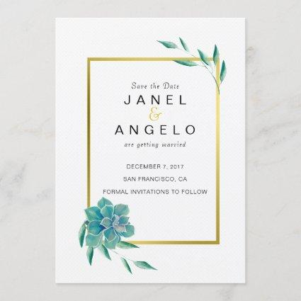 Gold Botanical Succulent Save the Date invitation