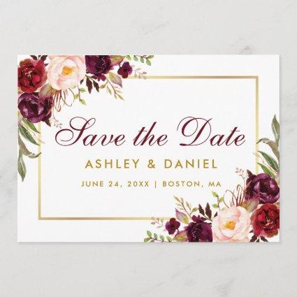 Gold Burgundy Save The Date Floral