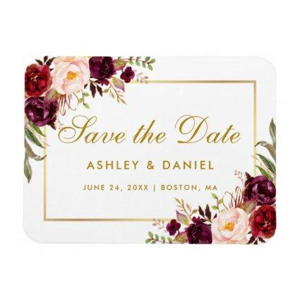 Gold Burgundy Watercolor Floral Save The Date Magnet