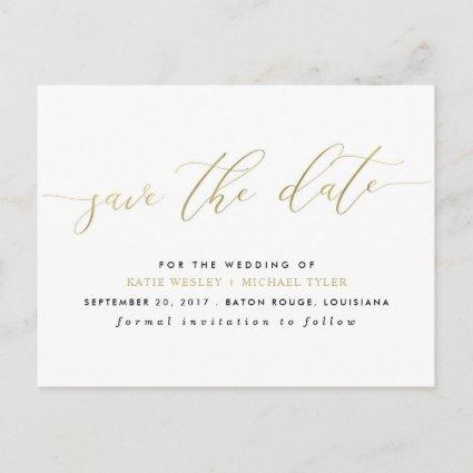 Gold Calligraphy Modern Save the Date Announcement